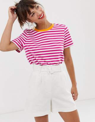 And other stories &  cotton t-shirt in white and pink stripes