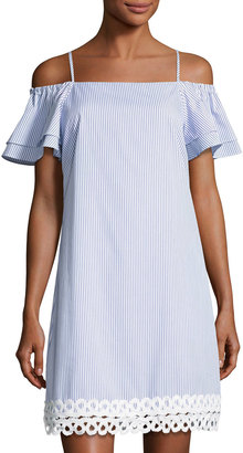 Julia Jordan Off-the-Shoulder Popover Dress, Blue/White $99 thestylecure.com