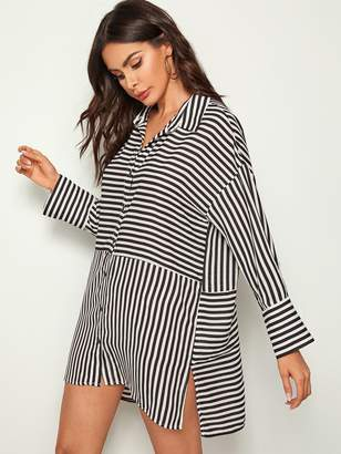 Shein Button Fly Split Hem Striped Shirt Dress