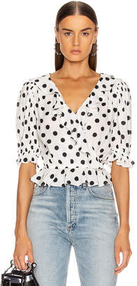 Icons Objects Of Devotion Objects of Devotion Cha Cha Blouse in White & Black Polka Dot | FWRD