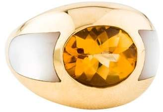 Mauboussin 18K Mother of Pearl & Citrine Dome Ring yellow 18K Mother of Pearl & Citrine Dome Ring