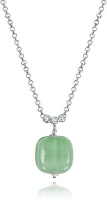 Antica Murrina Veneziana Florinda Green Murano Glass Sterling Silver Necklace
