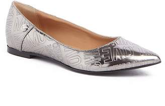 Love Moschino Laminated Faux Leather Logo Embossed Ballet Flat