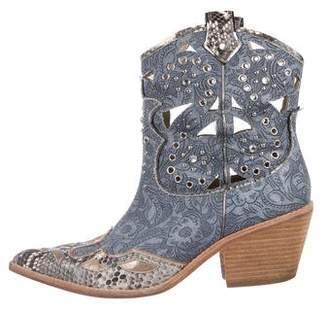 c03f647213cc Donald J Pliner Denim Embellished Cowboy Boots