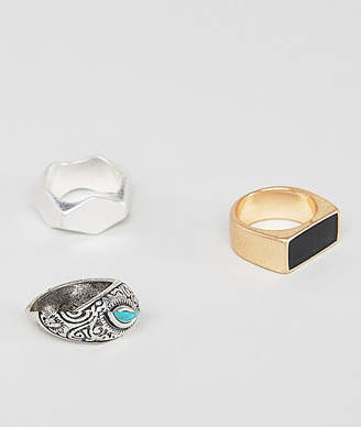 Pull&Bear chunky ring 3 pack in silver and gold