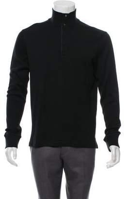 Ralph Lauren Black Label Leather-Trimmed Mock Neck Sweater