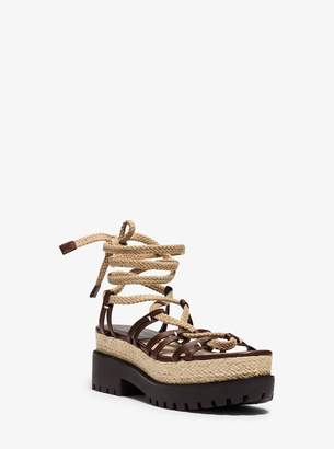 Michael Kors Kellan Runway Leather and Jute Sandal