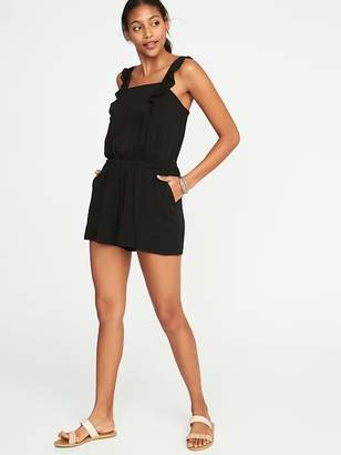 Old Navy Sleeveless Flutter-Trim Utility Romper for Women