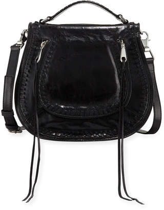 Rebecca Minkoff Vanity Distressed Woven Leather Saddle Bag