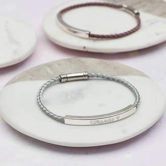 Hurleyburley Personalised Sterling Silver And Silk Twist Bracelet
