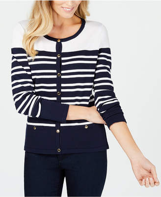 Karen Scott Striped Button-Detail Cardigan, Created for Macy's