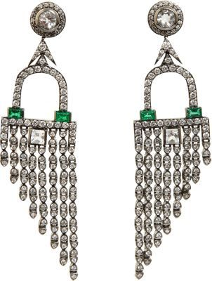 Deborah Pagani Diamond, Emerald & Rock Crystal Deco Fringe Earrings