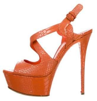 Casadei Platform Ankle Strap Sandals Orange Platform Ankle Strap Sandals