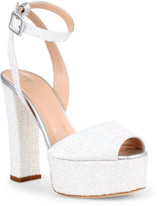 Giuseppe Zanotti Betty white glitter sandals