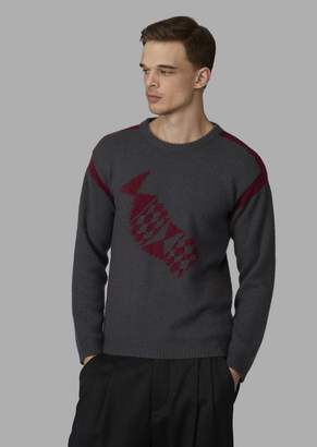 Giorgio Armani Sweater In Cashmere And Silk With Central Inlay