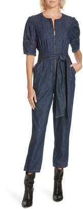 Rebecca Taylor Puff Sleeve Denim Jumpsuit