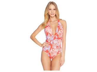 Red Carter Paradiso Deep V Maillot Women's Swimsuits One Piece