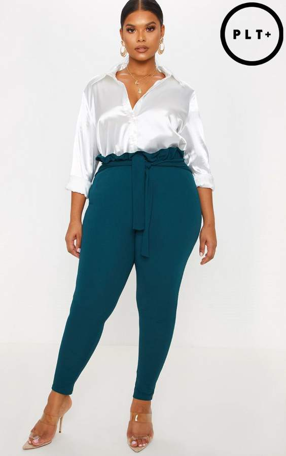 Plus Emerald Green Paperbag Skinny Trousers
