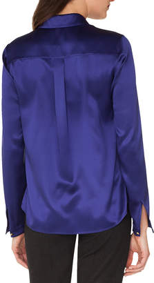 Akris Long-Sleeve Silk Satin Blouse