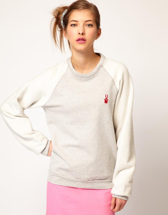 Peter Jensen Reverse Sweatshirt with Bunny Applique Logo