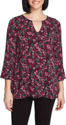 Chaus Print Bell Sleeve Keyhole Top