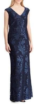 Lauren Ralph Lauren Floral Tulle Column Gown