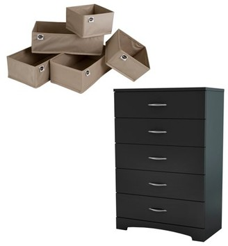 South Shore Furniture South Shore SoHo Pure Black 5-Drawer Chest & Organizers