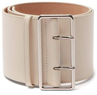 Alexander McQueen Wide Leather Belt - Womens - Ivory