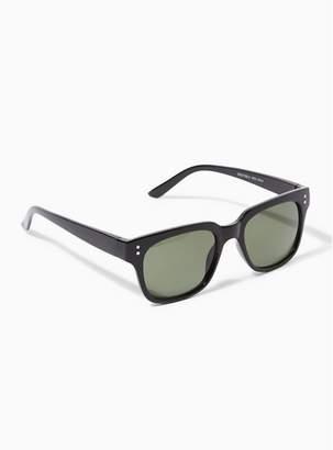 Topman Mens Black Shiny 50S Sunglasses