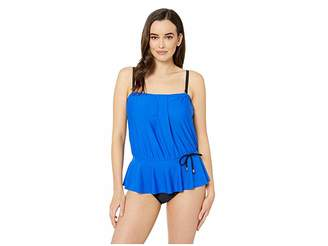 02d69a7418 Maxine Of Hollywood Swimwear Solids Tricot Over the Shoulder Peplum Mio One- Piece