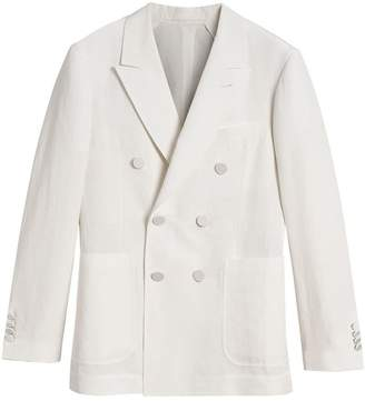 Burberry Linen Silk Double-breasted Tailored Jacket