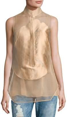 Akris Women's Button-Front Semi-Sheer Top