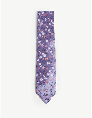 Duchamp Daisy floral print silk tie