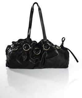 Miu MiuMiu Miu Black Leather Small Ruffled Rectangular Shoulder Handbag