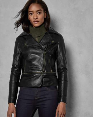 Ted Baker YASWIN Zip hem leather biker jacket