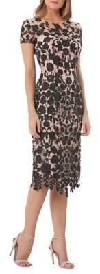 JS Collections Floral Lace Cap-Sleeve Dress
