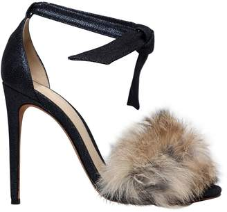 Alexandre Birman 100mm Clarita Fur Glitter Denim Sandals