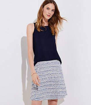 LOFT Striped Tweed Pocket Flippy Skirt