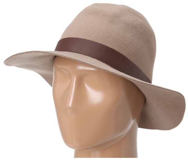 Hat Attack Wool Felt Medium Brim Floppy (Taupe/Brown Wide Leather Band) - Hats