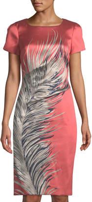 Carolina Herrera Short-Sleeve Feather-Print Sheath Dress