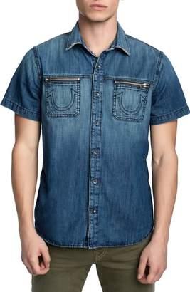 True Religion Brand Jeans Zip Pocket Denim Shirt