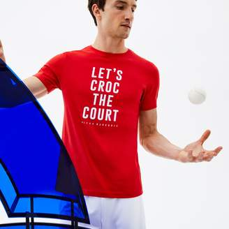 Lacoste Men's SPORT Crew Neck Lettering Technical Jersey T-shirt - x Novak Djokovic Support With Style - Off Court Collection
