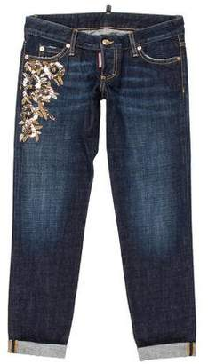 DSQUARED2 Low-Rise Embellished Jeans w/ Tags