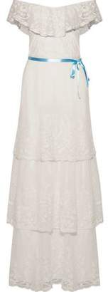 Joie Gertie Off-The-Shoulder Embroidered Cotton-Blend Mesh Maxi Dress