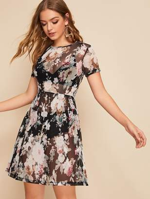 Shein Floral Print Sheer Mesh Dress Without Lingerie