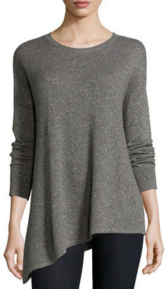 Neiman Marcus Cashmere Collection Metallic Asymmetric Cashmere Sweater $295 thestylecure.com