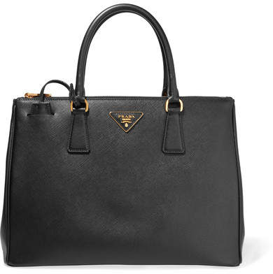 prada Prada - Galleria Large Textured-leather Tote - Black