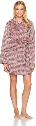 Mae Amazon Brand Women's Burn-Out Hearts Short Plush Robe