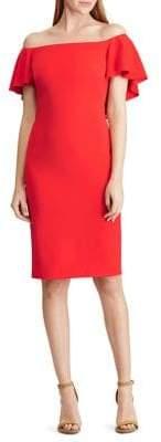 Lauren Ralph Lauren Cape Crepe Off-The-Shoulder Sheath Dress