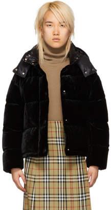 Moncler Black Velvet Down Caille Jacket